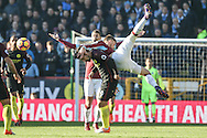 Burnley players appeal for a freekick by Manchester City striker Nolito during the Premier League match between Burnley and Manchester City at Turf Moor, Burnley, England on 26 November 2016. Photo by Pete Burns.