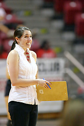 30 August 2011: Coach Leah Johnson during an NCAA volleyball match between the Cougars of Southern Illinois Edwardsville and the Illinois State Redbirds at Redbird Arena in Normal Illinois.