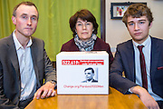 The family of WWII codebreaker Alan Turing preparing to deliver their Change.org petition to Downing Street signed by almost half a million people <br /> calling for more than 49,000 British gay men convicted under historic anti-gay laws in the UK. <br /> <br /> Turing's relatives Nevil Hunt (great nephew), Rachel Barnes (great niece), Thomas Barnes (great great nephew) delivered the petition to No.10 Downing Street. 23rd February 2015. <br /> Image credit must read:  © Andrew Aitchison / change.org