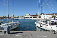 Yachts moored at new marina, Malaga, Andalusia, Spain, December, 2013, 201312203033<br />