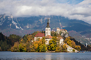The Church of the Assumption, built in its current form near the end of the 17th century, on Bled Island on Lake Bled, Slovenia. (October 22, 2013)