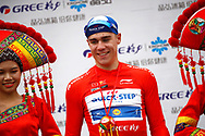 Podium Fabio Jakobsen (NED - QuickStep - Floors) red leader jersey during the Tour of Guangxi 2018, Stage 3, Nanning - Nanning (125,4 km) on October 18, 2018 in Nanning, China - photo Luca Bettini / BettiniPhoto / ProSportsImages / DPPI