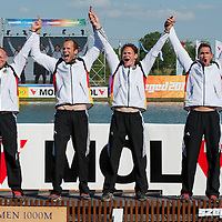 Norman Broeckl, Robert Gleinert, Max Hoff and Paul Mittelstedt from Germany celebrate their victory in the K4 Men 1000m Final of the 2011 ICF World Canoe Sprint Championships held in Szeged, Hungary on August 20, 2011. ATTILA VOLGYI