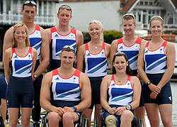 © Licensed to London News Pictures. 27/06/2012. Henley-on-Thames, UK Great Britain's rowing team for the London 2012 Paralympics was announced during Wednesday's lunch interval and the four crews rowed down the Henley course through the enclosures. Henley Royal Regatta on June 26, 2012 in Henley-on-Thames, England. The 172-year-old rowing regatta is held 27th June- 1st July 2012. Photo credit : Stephen Simpson/LNP