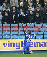 Photo: Lee Earle.<br /> Millwall v Everton. The FA Cup. 07/01/2006. Millwall's Marvin Williams celebrates his opening goal.