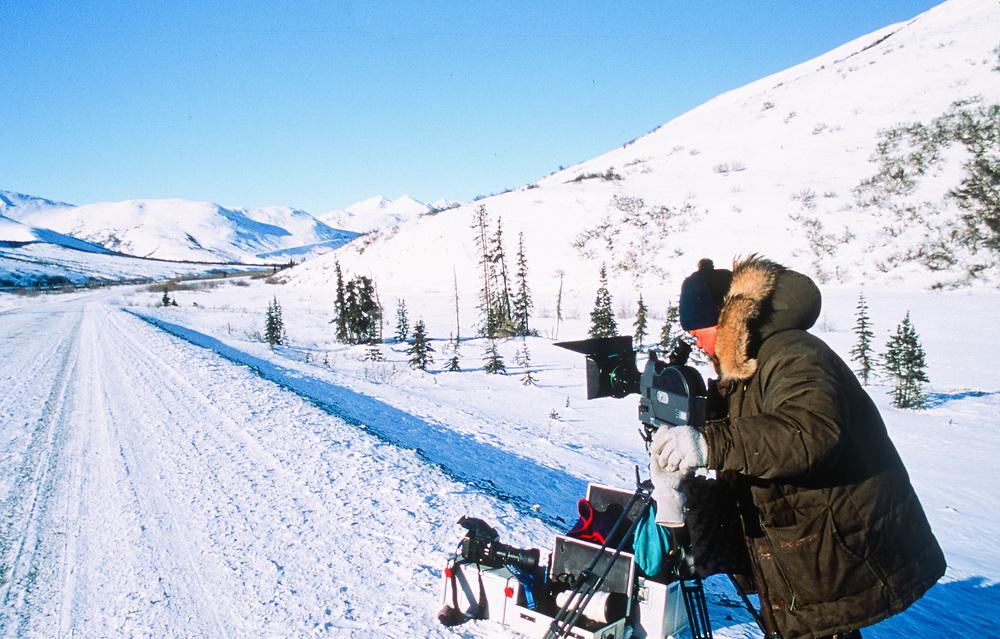 Alaska, Brooks Range. Filmaker on Dalton Highway.