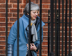 © Licensed to London News Pictures. 11/03/2019. London, UK. British Prime Minister THERESA MAY is seen leaving Downing Street in London to head to Strasbourg for last minute talks with the EU. UK Parliament is expected to reject the Prime Ministers deal, with suggestions that there could be attempts to remove the PM if there is any delay to Brexit. Photo credit: Ben Cawthra/LNP