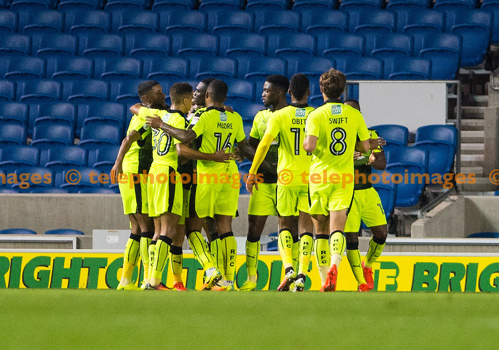 Stephen Quinn of Reading and his teammates celebrate after he scores the opening goal during the EFL Cup match between Brighton and Hove Albion and Reading at the American Express Community Stadium in Brighton and Hove. September 20, 2016.<br /> Liz  Finlayson / Telephoto Images<br /> +44 7967 642437