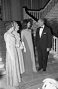 An Taoiseach Mr. Jack Lynch T.D. entertains  Mrs. Jackie Kennedy at a reception at St. Patrick's Hall, Dublin Castle. Jackie Kennedy with her hosts Jack Lynch and his wife in the reception hall of Dublin Castle where she attended her first formal function since her arrival in Ireland. On the left is Mrs. Frank Aiken.<br /> 30.06.1967