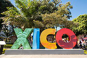 Decorative letters spell out the town name in Xico Park in Xico, Veracruz, Mexico.