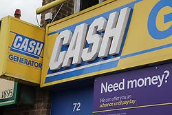 Shop sign offering payday loans