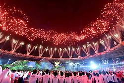 JAKARTA, Aug. 18, 2018  Fireworks explode over the Gelora Bung Karno (GBK) Main Stadium at the opening ceremony of the 18th Asian Games in Jakarta, Indonesia, Aug. 18, 2018. (Credit Image: © Yue Yuewei/Xinhua via ZUMA Wire)