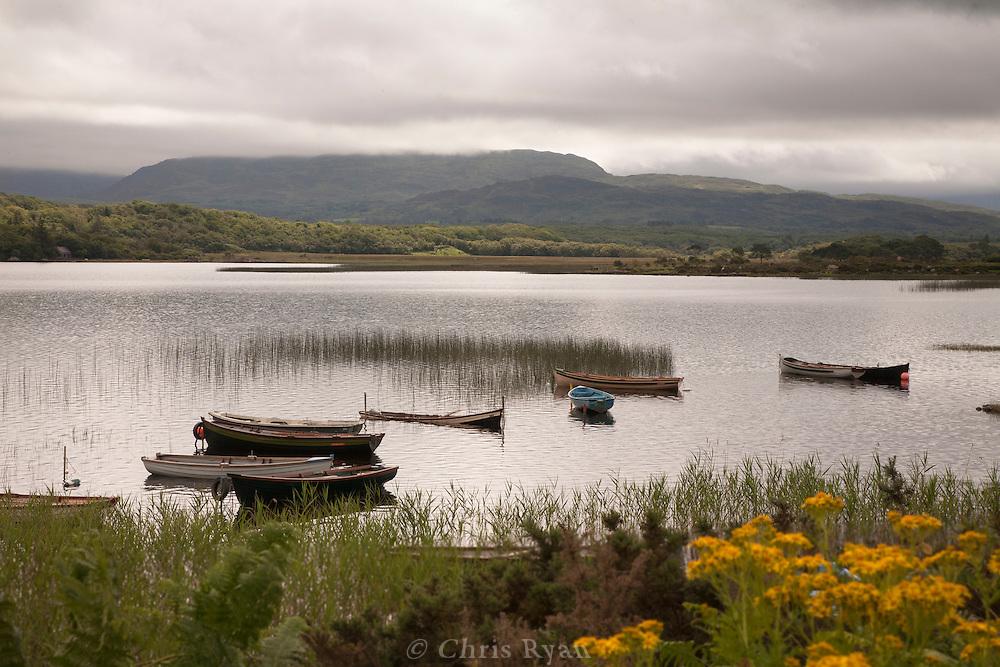 Fishing boats on Caragh Lake, County Kery, Ireland