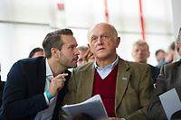 DEU, Deutschland, Germany, Berlin, 13.03.2016: Thorsten Weiß, Vorsitzender der Jungen Alternative Berlin, und Hans-Joachim Berg, stv. AfD-Landesvorsitzender, beim Landesparteitag der Partei Alternative für Deutschland (AfD) im Kolumbus Hotel.