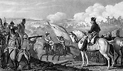 Frederick II, The Great (1712-1786) king of Prussia from 1740. Frederick at the Battle of Rossbach, November 1757, at which the Prussian army defeated a French army twice its size. Officer on left views progress of battle through field telescope. Lithograph.