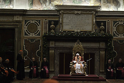 Pope Benedict XVI during the audience for the Christmas greetings with the Roman Curia at the Clementine hall at the Vatican, Italy, December 21, 2012. Photo by Imago / i-Images...UK ONLY