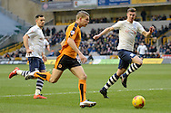 Preston North End defender Paul Huntington chases down Wolverhampton Wanderers striker Bjorn Sigurdarson during the Sky Bet Championship match between Wolverhampton Wanderers and Preston North End at Molineux, Wolverhampton, England on 13 February 2016. Photo by Alan Franklin.