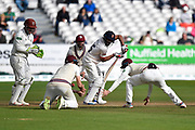 Ravi Bopara of Essex batting with Somerset fielders in close catching positions during the Specsavers County Champ Div 1 match between Somerset County Cricket Club and Essex County Cricket Club at the Cooper Associates County Ground, Taunton, United Kingdom on 26 September 2019.