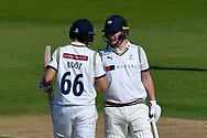 50 for Joe Root of Yorkshire - Joe Root of Yorkshire celebrates scoring a half century and is congratulated by Gary Ballance of Yorkshire during the Specsavers County Champ Div 1 match between Hampshire County Cricket Club and Yorkshire County Cricket Club at the Ageas Bowl, Southampton, United Kingdom on 11 April 2019.