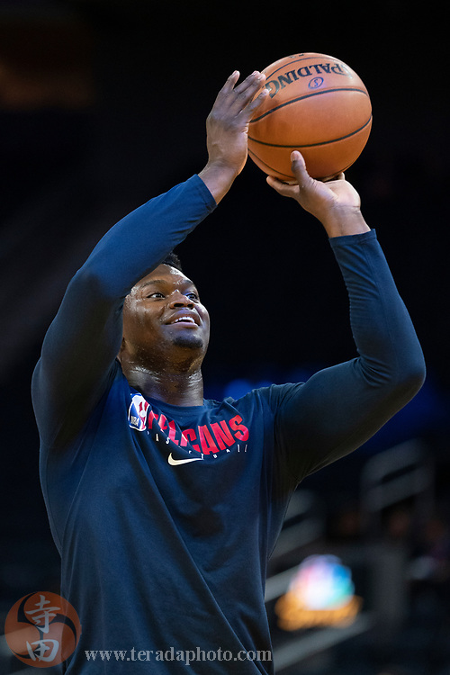 February 23, 2020; San Francisco, California, USA; New Orleans Pelicans forward Zion Williamson (1) warms up before the game against the Golden State Warriors at Chase Center.