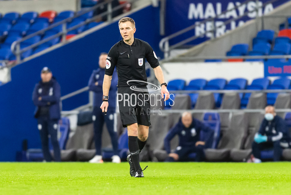 Referee Michael Salisbury in action during the EFL Sky Bet Championship match between Cardiff City and Birmingham City at the Cardiff City Stadium, Cardiff, Wales on 16 December 2020.