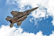 """Israeli Air Force (IAF) McDonnell Douglas F-15A in flight.  Photographed at the  """"Blue-Flag"""" 2017, an international aerial training exercise hosted by the Israeli Air Force (IAF) at Ouvda airfield, Israel. November 2017"""