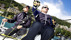 On board Azzurra. St Moritz Match Race 2010. World Match Racing Tour. St Moritz, Switzerland. 31st August 2010. Photo: Ian Roman/Subzero Images.