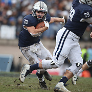NEW HAVEN, CONNECTICUT - NOVEMBER 18:  Zane Dudek #33 of Yale in action during the Yale V Harvard, Ivy League Football match at the Yale Bowl. Yale won the game 24-3 to win their first outright league title since 1980. The game was the 134th meeting between Harvard and Yale, a historic rivalry that dates back to 1875. New Haven, Connecticut. 18th November 2017. (Photo by Tim Clayton/Corbis via Getty Images)