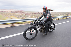 Doug Wothke of Alabama, an experienced long distance rider who has ridden a 1948 Indian Chief around the world as well as a 1962 Panhead chopper around the world, here riding his 1916 Indian during the Motorcycle Cannonball Race of the Century. Stage-12 ride from Page, AZ to Williams, AZ. USA. Thursday September 22, 2016. Photography ©2016 Michael Lichter.