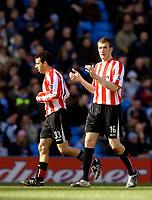 Photo: Jed Wee.<br /> Manchester City v Sunderland. The Barclays Premiership. 05/03/2006.<br /> <br /> Sunderland goalscorer Kevin Kyle (R) applauds his team's effort.