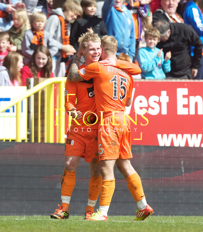 SPL Dundee United FC v  Hearts FC Scottish Premier League Season 2011-12.28-04-12...Dundee United's Gary Mackay Steven celebrates with Johnny Russell after scoring goal number 2 to make it 2-1 to United       during the Scottish premier League clash between Euro spot chasing Dundee United FC and Heart of Midlothian FC...At Tannadice Stadium, Dundee..Saturday 28th April 2012.Picture Mark Davison/ Prolens Photo Agency / PLPA