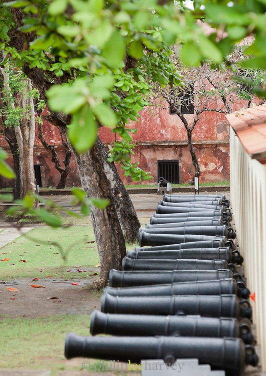 Old canons lie on display at the Portuguese built Fort Jesus, now a UNESCO World Heritage Site, in Mombasa, Kenya