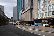 Smallbrook Queensway in Birmingham city centre is virtually deserted due to the Coronavirus outbreak on 31st March 2020 in Birmingham, England, United Kingdom. Following government advice most people are staying at home leaving the streets quiet, empty and eerie. Coronavirus or Covid-19 is a new respiratory illness that has not previously been seen in humans. While much or Europe has been placed into lockdown, the UK government has announced more stringent rules as part of their long term strategy, and in particular social distancing.