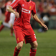 Lucas Leiva, Liverpool, in action during the Liverpool Vs AS Roma friendly pre season football match at Fenway Park, Boston. USA. 23rd July 2014. Photo Tim Clayton
