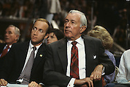 White House Chief of Staff Donald Regan and Reagan Budget Director Mitch Daniels at a Reagan event in Oklahoma..Photograph by Dennis Brack BB31