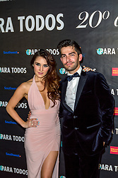 SANTA ANA, CA - OCT 10: Mexican actress and singer-songwriter Dulce Maria poses with Francis bertrand Editor of ParaTodos magazine during ParaTodos Magazine 20th Anniversary Gala at the Bower Museum on 10th of October, 2015 in Santa Ana, California. Byline, credit, TV usage, web usage or linkback must read SILVEXPHOTO.COM. Failure to byline correctly will incur double the agreed fee. Tel: +1 714 504 6870.