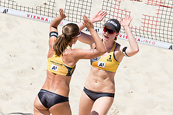 29.07.2017, Donauinsel, Wien, AUT, FIVB Beach Volleyball WM, Wien 2017, Damen, Gruppe B, im Bild v.l. Chantal Laboureur (GER), Julia Sude (GER) // f.l. Chantal Laboureur of Germany Julia Sude of Germany during the Women's group B match of 2017 FIVB Beach Volleyball World Championships at the Donauinsel in Wien, Austria on 2017/07/29. EXPA Pictures © 2017, PhotoCredit: EXPA/ Sebastian Pucher