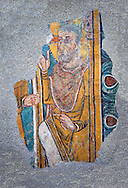 Romanesque frescoes of St. Steven of Andorra (Sant Esteve) from the church of Sant Esteve d'Andorra, painted around 1200-1210,  Andorra la Vella. National Art Museum of Catalonia, Barcelona. MNAC 35706 .<br /> <br /> If you prefer you can also buy from our ALAMY PHOTO LIBRARY  Collection visit : https://www.alamy.com/portfolio/paul-williams-funkystock/romanesque-art-antiquities.html<br /> Type -     MNAC     - into the LOWER SEARCH WITHIN GALLERY box. Refine search by adding background colour, place, subject etc<br /> <br /> Visit our ROMANESQUE ART PHOTO COLLECTION for more   photos  to download or buy as prints https://funkystock.photoshelter.com/gallery-collection/Medieval-Romanesque-Art-Antiquities-Historic-Sites-Pictures-Images-of/C0000uYGQT94tY_Y