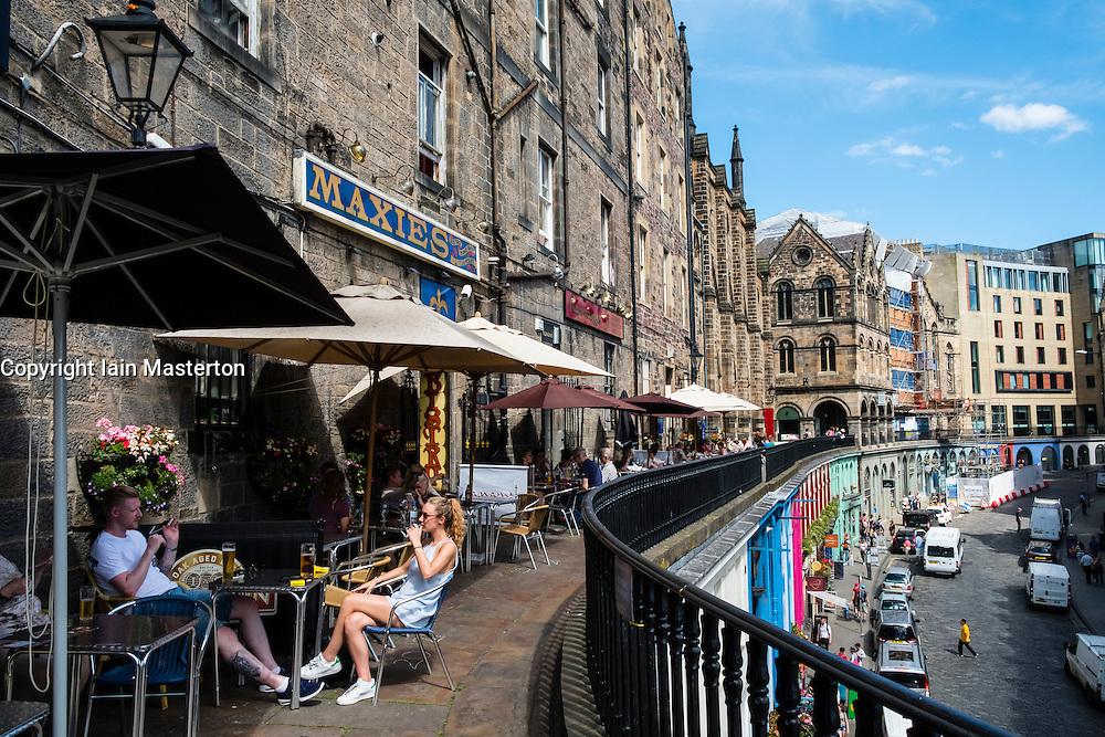 Bars high above Victoria Street in historic Old Town  district of Edinburgh , Scotland, United Kingdom
