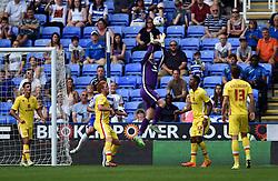 David Martin of Milton Keynes Dons makes a save - Mandatory by-line: Paul Knight/JMP - Mobile: 07966 386802 - 22/08/2015 -  FOOTBALL - Madejski Stadium - Reading, England -  Reading v MK Dons - Sky Bet Championship