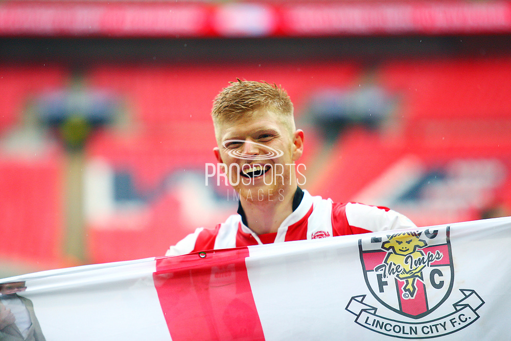 Lincoln City's match winner Elliott Whitehouse during the EFL Trophy Final match between Lincoln City and Shrewsbury Town at Wembley Stadium, London, England on 8 April 2018. Picture by John Potts.