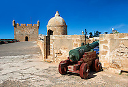 Dutch cannon made by Adrianus Crans in The Hague in 1744 on the Portuguese fortifications of Mogador or Mogadore. Essaouira, Morocco .<br /> <br /> Visit our MOROCCO HISTORIC PLAXES PHOTO COLLECTIONS for more   photos  to download or buy as prints https://funkystock.photoshelter.com/gallery-collection/Morocco-Pictures-Photos-and-Images/C0000ds6t1_cvhPo