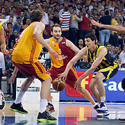 Galatasaray's Caner TOPALOGLU (C),and Fenerbahce's Sean Gregory MAY (L), Emir PRELDZIC (2ndR) during their Turkish Basketball league Play Off Final fourth leg match Galatasaray between Fenerbahce Ulker at the Abdi Ipekci Arena in Istanbul Turkey on Saturday 11 June 2011. Photo by TURKPIX