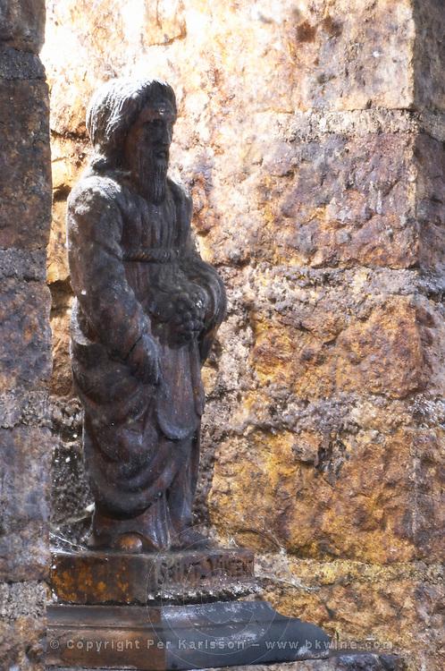 saint vincent statue in cellar domaine guyot marsannay cote de nuits burgundy france