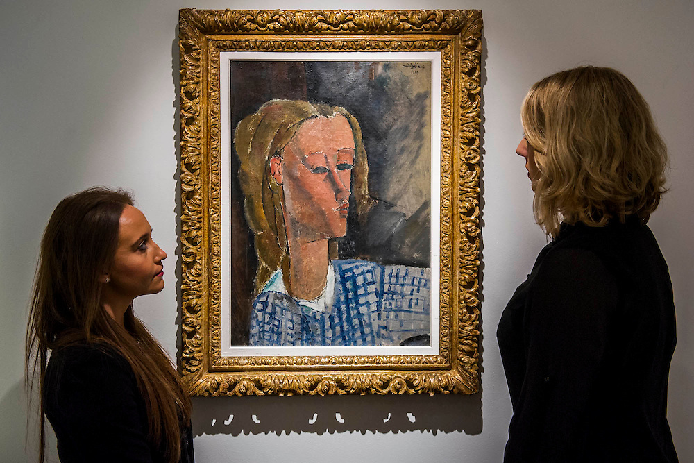 """Amedeo Modigliani (1884-1920), Portrait de Béatrice Hastings, 1916 (est $7-10million) -  Preview of almost fifty works from Christie's spring sales in New York of Impressionist, Modern, Post-War And Contemporary Art. The most expensive work is Les femmes d'Alger (Version """"O""""), 1955, by Pablo Picasso (1881-1973), estimate $140million. Other highlights include: Pablo Picasso (1881-1973), Femme à la résille, 1938 (est $55 million); Mark Rothko (1903 -1970), No. 36 (Black Stripe), 1958 (est: $30-50 million); Andy Warhol (1928-1987), Colored Mona Lisa, 1963 (est $40 million); Claude Monet (1840-1926), Le Parlement, soleil couchant, 1902 (est: $35-45 million); Jean Dubuffet, Paris Polka, 1961 (est $25 million); Piet Mondrian (1872-1944), Composition No.III (Composition with Red, Blue, Yellow and Black), 1929 (est: $15-25million); and Amedeo Modigliani (1884-1920), Portrait de Béatrice Hastings, 1916 (est $7-10million) from the Collection of John C. Whitehead. The works will be on view to the public from 11 to 16 April at Christie's King Street, London."""