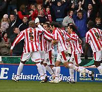 Photo:Mark Stephenson, Stoke City v West Bromwich Albion.<br />Coca Cola Championshipe,25-11-2006.<br />Stoke celabrate there goal.