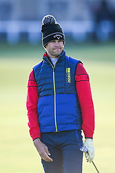 Thomas Detry plays his second shot on the 1st hole during day three of the Alfred Dunhill Links Championship at St Andrews. Picture date: Saturday October 2, 2021.