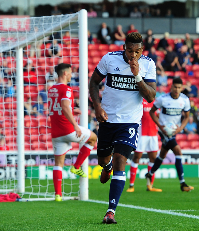 Middlesbrough's Britt Assombalonga celebrates scoring his sides second goal <br /> <br /> Photographer Chris Vaughan/CameraSport<br /> <br /> The EFL Sky Bet Championship - Barnsley v Middlesbrough - Saturday 14th October 2017 - Oakwell - Barnsley<br /> <br /> World Copyright © 2017 CameraSport. All rights reserved. 43 Linden Ave. Countesthorpe. Leicester. England. LE8 5PG - Tel: +44 (0) 116 277 4147 - admin@camerasport.com - www.camerasport.com