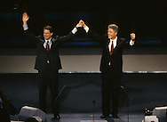 Al Gore and Bill Clinton at the Democratic Convention in 1992..Photograph by Dennis Brack bb24