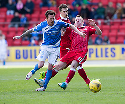 St Johnstone's Danny Swanson and Aberdeen's Johnny Hayes. St Johnstone 1 v 2 Aberdeen. SPFL Ladbrokes Premiership game played 15/4/2017 at St Johnstone's home ground, McDiarmid Park.
